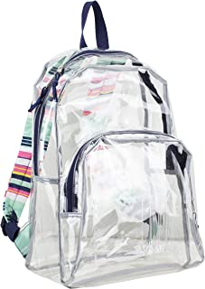 Clear Backpack, Fully Transparent with Padded Straps, Clear/Blue/Candy Stripe Print