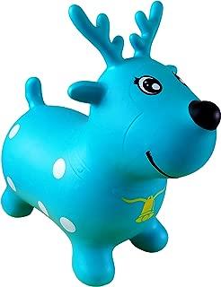 AppleRound Reindeer Bouncer with Hand Pump, Inflatable Deer Space Hopper, Ride-on Bouncy Animal (Light Teal Blue)