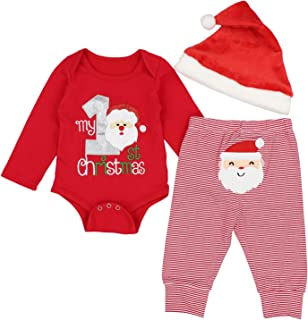 Christmas Outfits Baby Boys My 1st Christmas Rompers Bodysuit Santa Claus Pants with Christmas Hat