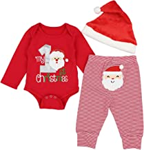 Haokaini 3Pcs//Lots Baby Christmas Stripe Outfits My 1st Christmas Romper Pants Hat for Infant Todder