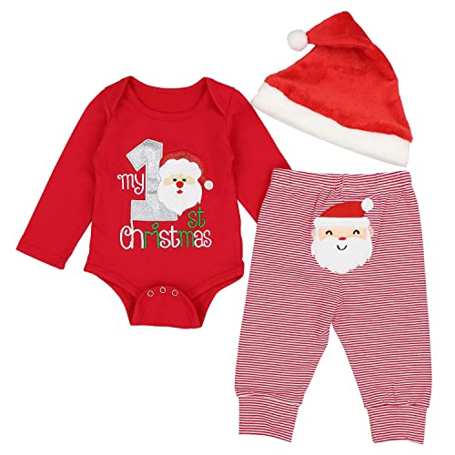 ebb00e56c103 Donwen Christmas Outfits Baby Boys My 1st Christmas Rompers Bodysuit Santa  Claus Pants with Christmas Hat