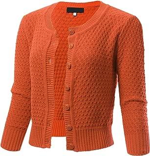 ARC Studio Womens Button Down 3/4 Sleeve Cropped Knit Cardigan Crochet Sweater (S-XL)