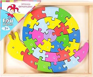FOU D'madera - 33710.0 - Puzzle de Madera - Forma de Caracol y contabilizadas a Alfabeto - 26 Piezas