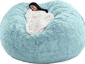 7ft Giant Fur Bean Bag Cover Living Room Furniture Big Round Soft Fluffy Faux Fur BeanBag Lazy Sofa Bed Cover(No Filler),Blue