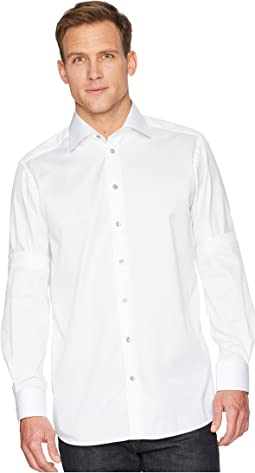 Eton - Contemporary Fit Twill Shirt w/ Grey Button