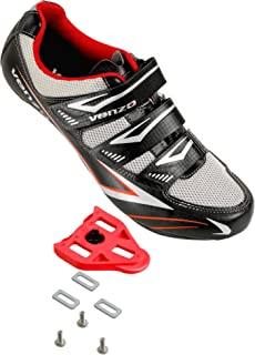 Venzo Bicycle Men's Road Cycling Riding Shoes - 3 Straps- Compatible with Peloton Shimano SPD & Look ARC Delta - Perfect for Road Racing Bikes White