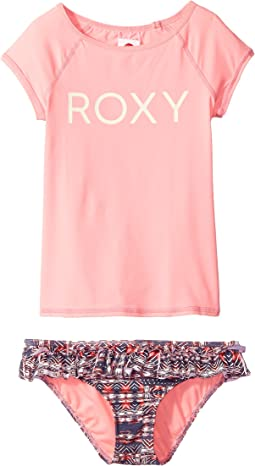 Roxy Kids - Wavy Beach Short Sleeve Lycra Rashguard Set (Big Kids)