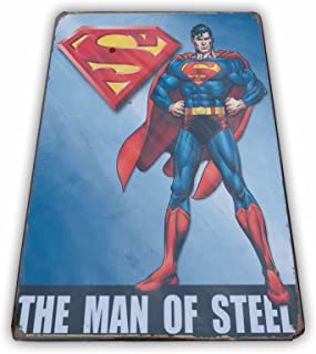 UNiQ Designs Vintage Movies Poster Metal Superman Poster Retro Tin Sign - Superman Wall Art Superman Wall Decor - DC Comics Poster - Superman Room Decor - Super hero Poster Superhero Sign 12x8