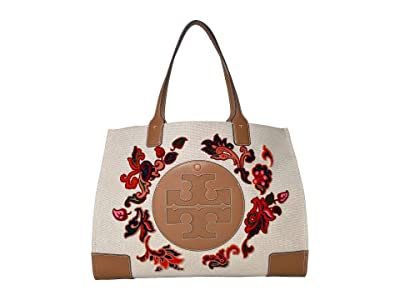 Tory Burch Ella Fil Coupe Tote (Ivory Mountain Paisley) Handbags