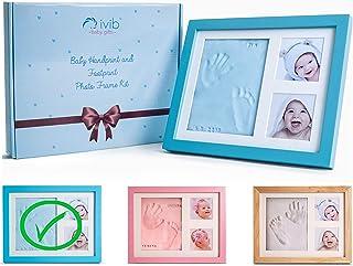 Baby Handprint & Footprint Photo Frame Kit - Premium Casting No Mold Clay - Box Ready for Boy Girls Baby Shower Gifts - Ne...