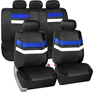 FH Group Leather Full Set Seat Covers Blue Airbag Safe PU006BLUE115 & Split Bench Ready