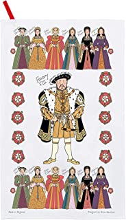 Alison Gardiner Famous Illustrator Henry VIII and his Six Wives 100% Cotton Tea Towel/Dish Cloth - Made in England - Premium Quality and Detail