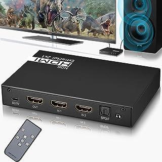 【HDMI製品認証取得】HDMI 切替器 HDMI 音声分離機 2入力1出力 4k*2k@60Hz Ippinkan HDMI 音声分離 光デジタル HDMI セレクター 自動切り替え リモコン付き SPDIF光デジタル出力 3.5mmステレオ...