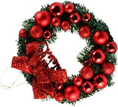 CLISPEED Christmas Wreath Front Door Red Bauble Bow Winter Decoration Wall Decor Hanging Wreaths Artificial Holiday Indoor...