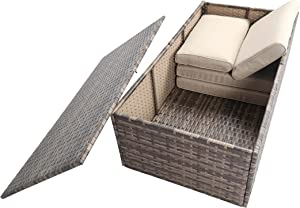 Baner Garden A104 Outdoor 1Piece Rectangle Glass Table Rattan Patio with Storage Compartment, Mixed Gray/Dark Gray/Light Gray
