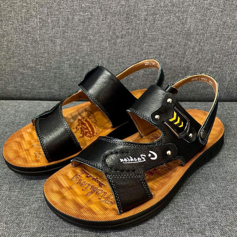 GJLIANGXIE Men'S Sandals Men'S shoes Summer Men'S Sandals Leather New Non-Slip Beach shoes Breathable Casual shoes Men'S Open Toe Sandals And Slippers