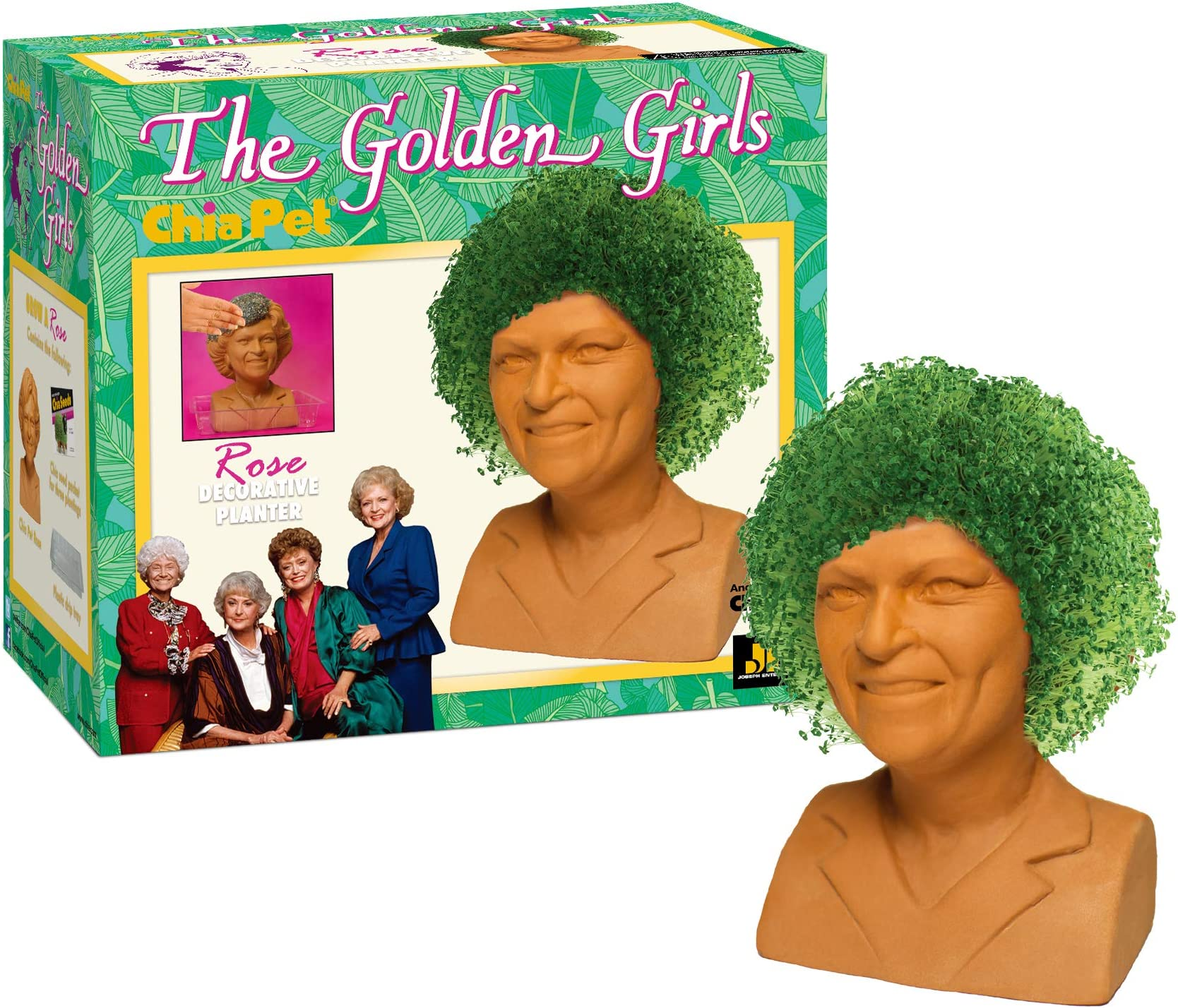 Chia Pet Golden Girls-Rose Decorative Pottery Planter, Easy to Do and Fun to Grow, Novelty Gift, One Size, Terra Cotta
