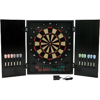 Best Sporting elektronische Dartscheibe Glasgow Dartboard Kabinett mit 12 Dartpfeilen und Ersatzspitzen, Dartautomat mit LED-Display