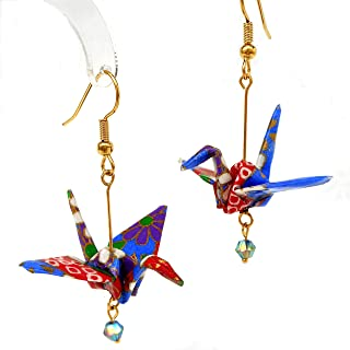 Origami Good Luck Paper Crane Earrings, Royal Blue Red Purple w/Iridescent Blue Bead,Birthday Gift