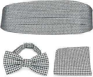 PenSee Formal Silver-grey & Black Geometric Pre-tied Bow Tie & Pocket Square & Cummerbund Set