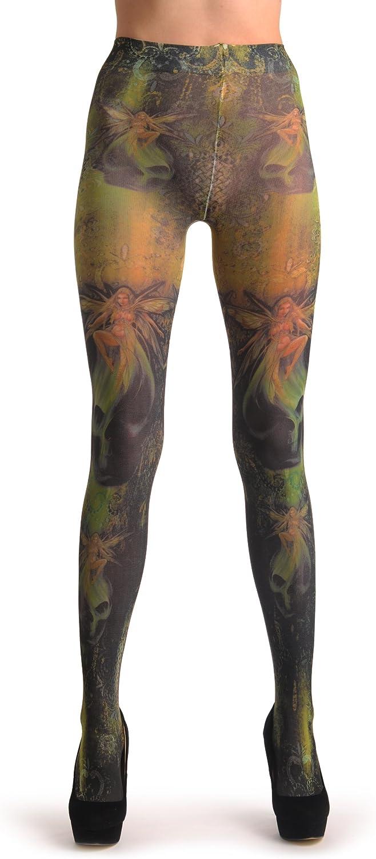 Gothic Alchemy Fairy & Skull - Green Designer Pantyhose (Tights)