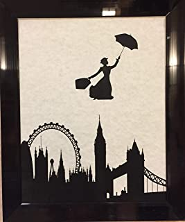 Ready Prints Mary Poppins Over London Skyline Artwork Print Picture Poster Home Office Bedroom Nursery Kitchen Wall Decor - unframed