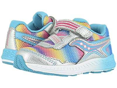Saucony Kids Ride 10 Jr (Toddler/Little Kid) (Silver Multi Leather/Mesh) Girls Shoes