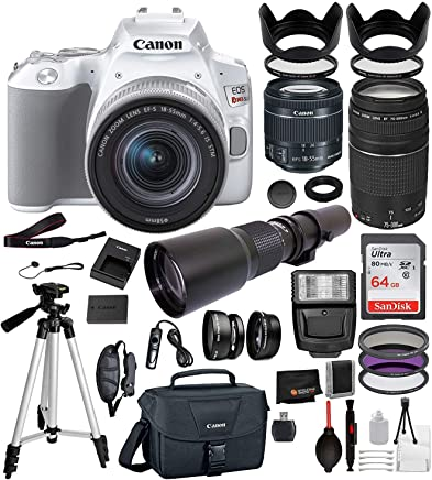 "Canon EOS Rebel SL3 DSLR Camera (White) with 18-55mm is STM, 75-300mm III, and 500mm Preset Professional Bundle: Includes – 64GB SanDisk Highspeed Memory Card + 50"" Tripod + Canon Bag + More"