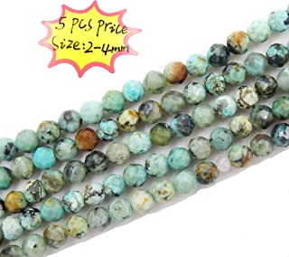 Malahill 2-4mm Faceted Gemstone Beads for Jewelry Making, Sold per Bag 5 Strands Inside (African Turquoise, 2mm)