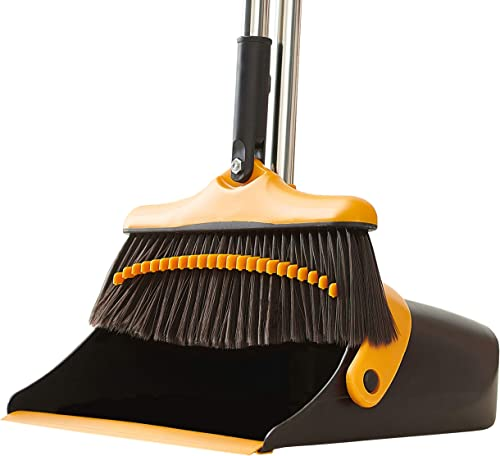 Broom and Dustpan Set with Long Handle - Kitchen Brooms and Stand Up Dust Pan Magic Combo Set for Home - Lobby Broom ...