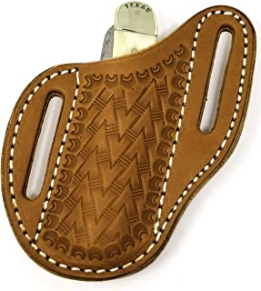 Slanted Pancake Sheath, Tooled leather knife sheath,Trapper knife sheath, MEDIUM BROWN
