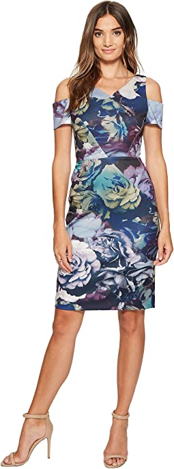 Tahari by ASL - Cold Shoulder Technicolor Floral Dress