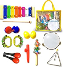 16Pcs GiftedMusicKids | Musical Instruments for Kids Set Xylophone Percussion Toy Rhythm Band Set Drum | Musical Instruments for Toddlers