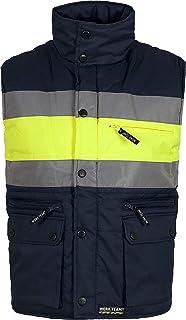 Work Team Chaleco acolchado y multibolsillos con dos cintas reflectantes y tejido de alta visibilidad. HOMBRE