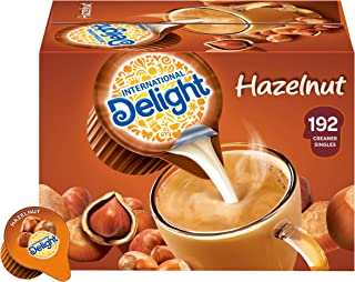 International Delight, Hazelnut, Single-Serve Coffee Creamers, 192 Count (Pack of 1), Shelf Stable Non-Dairy Flavored Coffee Creamer, Great for Home Use, Offices, Parties or Group Events