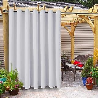 FLOWEROOM Indoor/Outdoor Curtains for Patio, Pergola and Cabana, Greyish White, 100 x 108 inch – Sun Light Blocking Waterp...