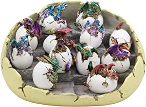 Ebros Set of 12 Wyrmling Dragons in Eggs Figurine Miniatures with Dragon Egg Display Set Colorful Fantasy Egg Hatchling Figurines Set of 12 Dungeons and Medieval Alchemy Fantasy Dragon Collectibles