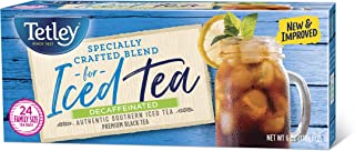 Tetley Black Tea, Decaffeinated Iced Tea Blend, Family Size, 24 Round Tea Bags (Pack of 6) (Packaging may vary)