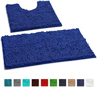LuxUrux Bathroom Rugs Luxury Chenille 2-Piece Bath Mat Set, Soft Plush Anti-Slip Shower Rug +Toilet Mat.1'' Microfiber Shaggy Carpet, Super Absorbent Machine Washable Bath Mats (Curved Set, Blue)
