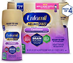 Enfamil Neuropro Gentlease Ready To Feed Baby formula milk, Mfgm, Omega 3 Dha, Probiotics, Iron & Immune Support, 6 Count per pack, 48 Fl Oz, Pack of 4