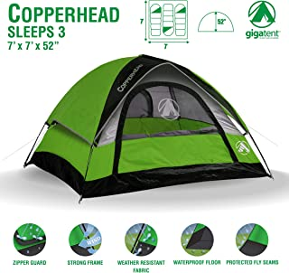 GigaTent 7′ X 7′ 3 Person 3 Season Dome Tent Waterproof & UV Resistant Fabric Carry Bag Included