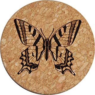 Doodle Gifts Round Cork Coasters, Butterfly (Set of 4)