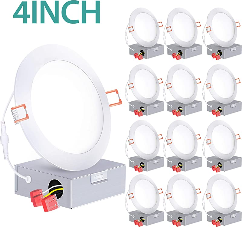 12 Pack 4 Inch Slim LED Recessed Lighting With Junction Box 60W Eqv ETL And Energy Star 650 LM Dimmable Recessed Ceiling Light LED Downlight 5000K Wafer Light