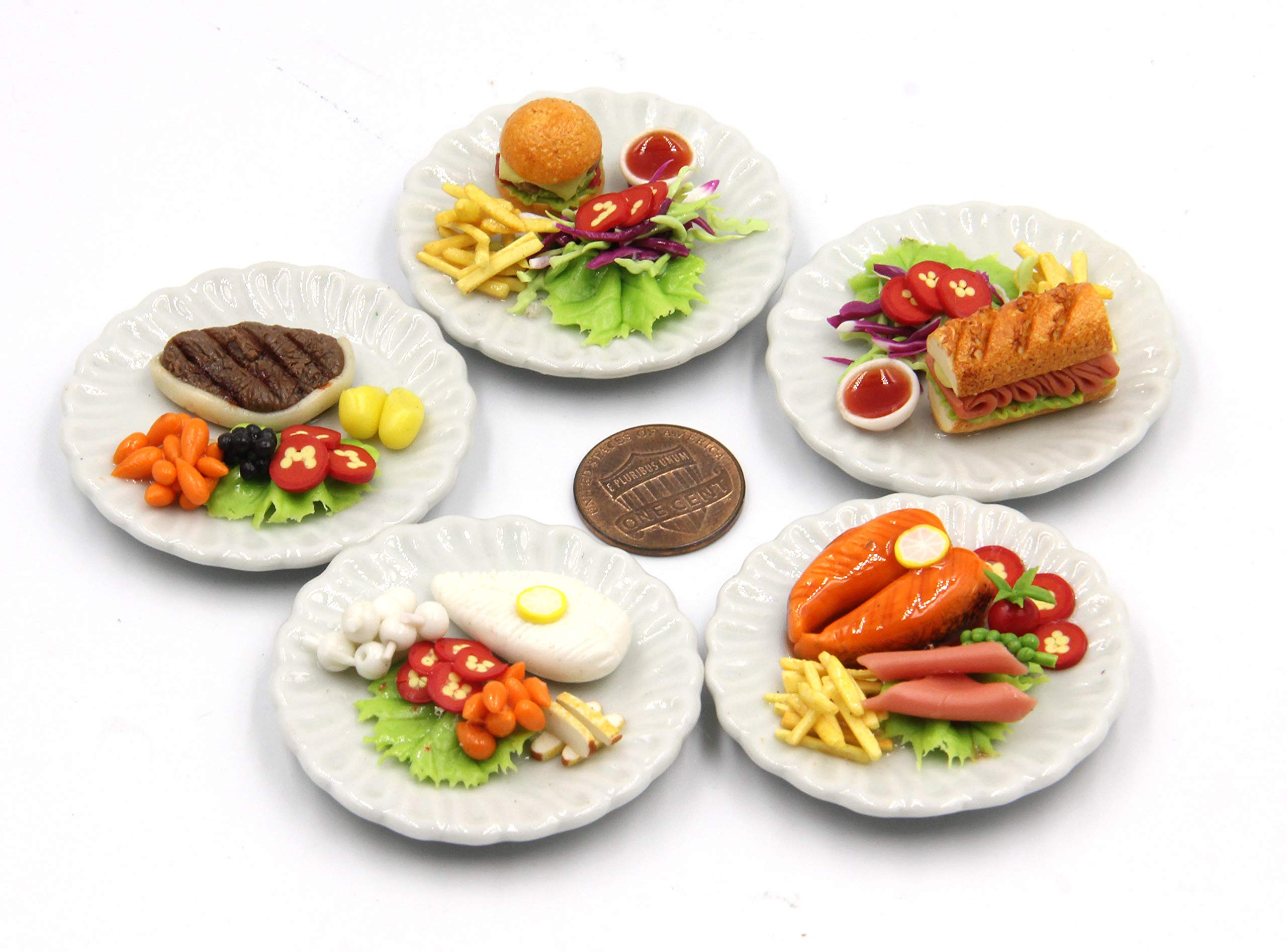 Magma Brick Lovely Mixed 5 Assorted Dollhouse Miniature Food,Tiny Food for Collectibles, Berger Breakfast and Beefsteak SalmonSteak