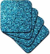 3dRose Blue Faux Glitter - Photo of Glittery Texture - Looks Like Sparkly Bling Sparkles But is Matte - Soft Coasters, Set of 8 (CST_112887_2)