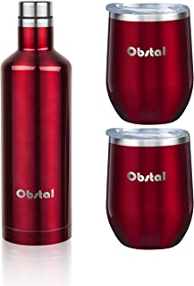 Obstal Insulated Wine Growler & 2 Wine Tumblers Set - Stainless Steel Double Wall Vacuum Wine Canteen Bottle for Gift, 17 oz, Burgundy