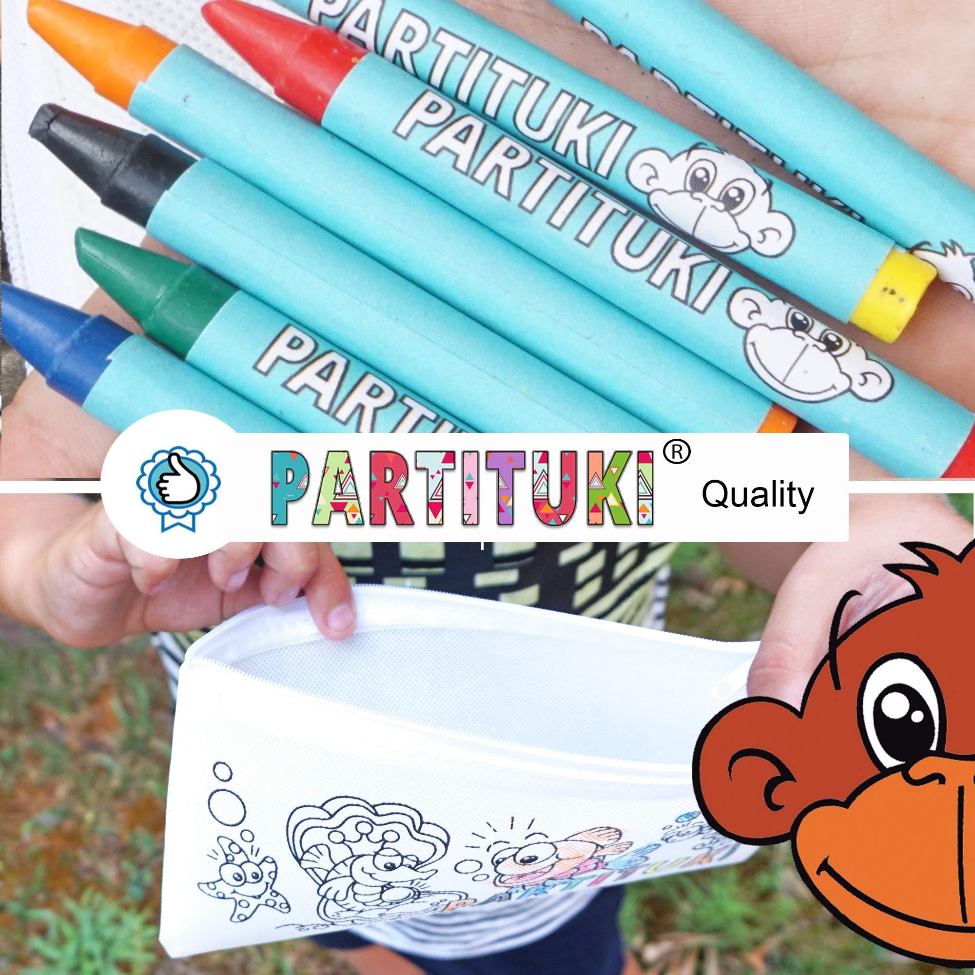Detalles para Niños Partituki. 25 Estuches para Colorear y 25 Sets de 7 Ceras de Colores. Detalles Fiestas Infantiles. Con Certificado CE de no Toxicidad: Amazon.es: Juguetes y juegos