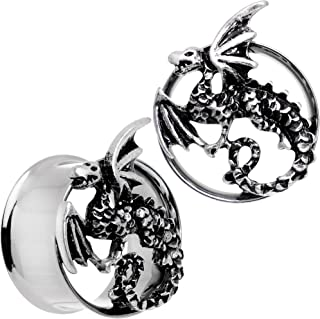 Steel Angry Dragon Double Flare Tunnel Plug Set of 2 6mm to 25mm