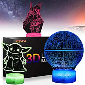 3D Illusion Night Light for Kids, Star Wars Led Table Lamp with Remote Control, 16 Colors Changing Bedside Night Lights for Boys Girls Birthday Gifts Bedroom Decor