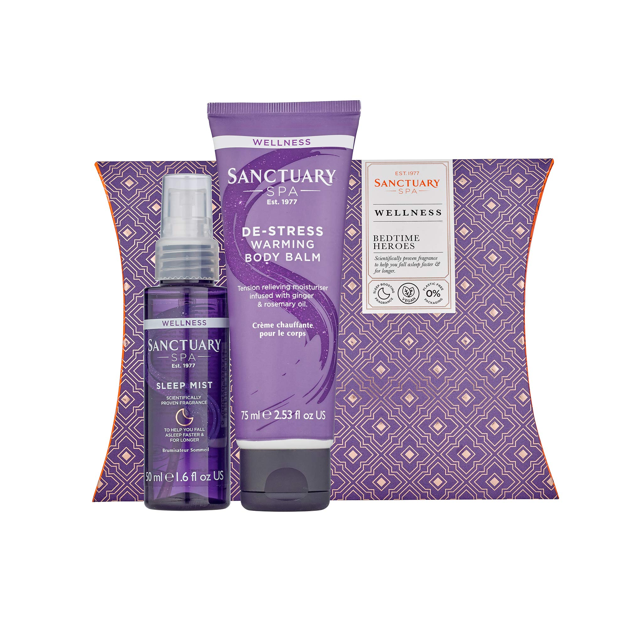 Sanctuary Spa Gift Set, Bedtime Heroes Wellness Gift With Sleep Mist Pillow Spray and Warming Muscle Rub Balm, Vegan, Gift for Her, Gifts for Women, Birthday